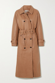 Belted double-breasted leather trench coat
