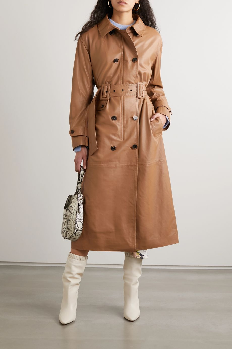 MUNTHE Belted double-breasted leather trench coat