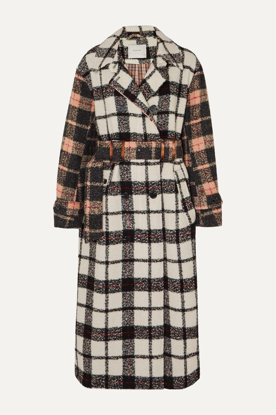 MUNTHE Belted paneled checked bouclé coat