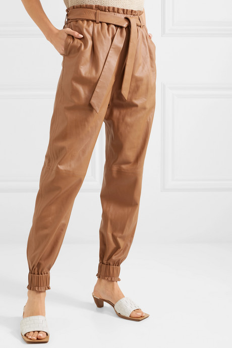 Belted leather tapered pants