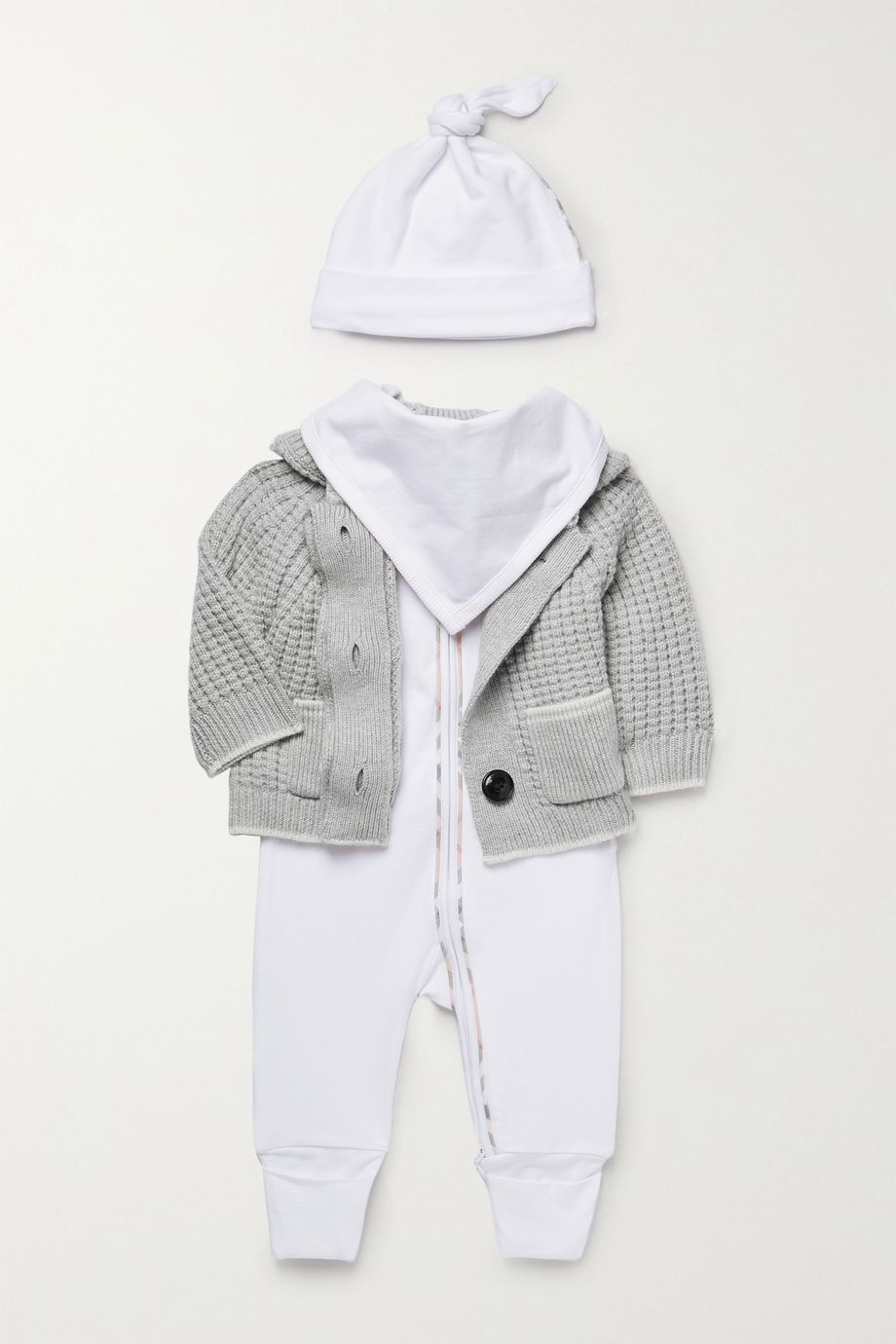 Burberry Kids Months 1 - 12 stretch-cotton jersey onesie, hat and bib set
