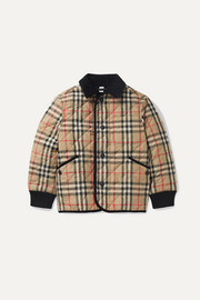 Ages 4-12 corduroy-trimmed checked quilted shell jacket