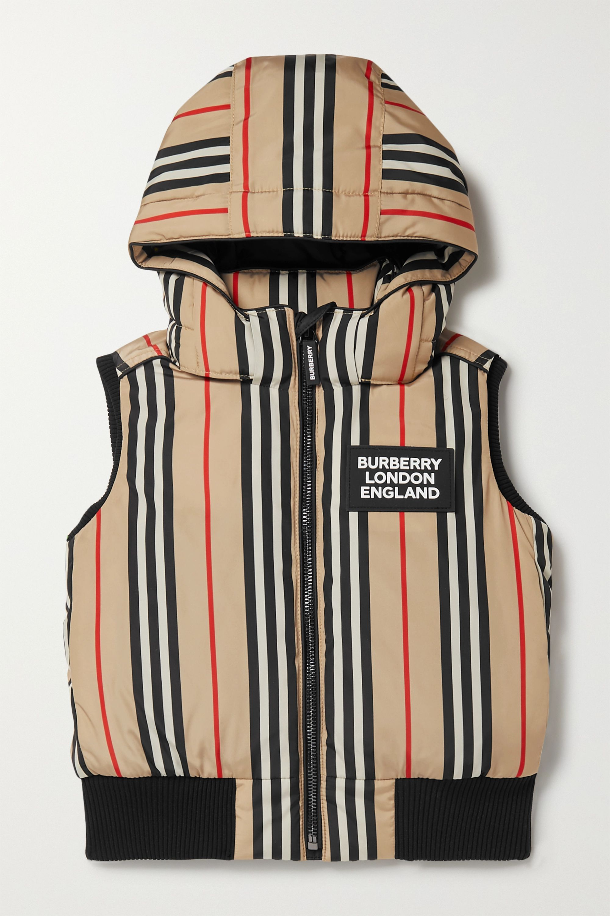Burberry Kids Ages 4 - 12 hooded appliquéd striped shell down vest