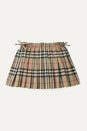 Burberry Kids Pleated checked cotton-poplin skirt