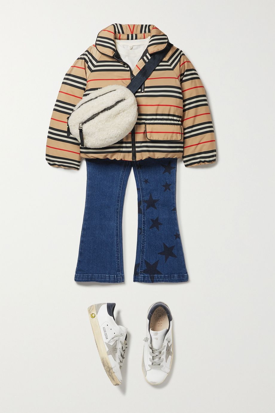 Burberry Kids Ages 3 - 12 striped shell down coat