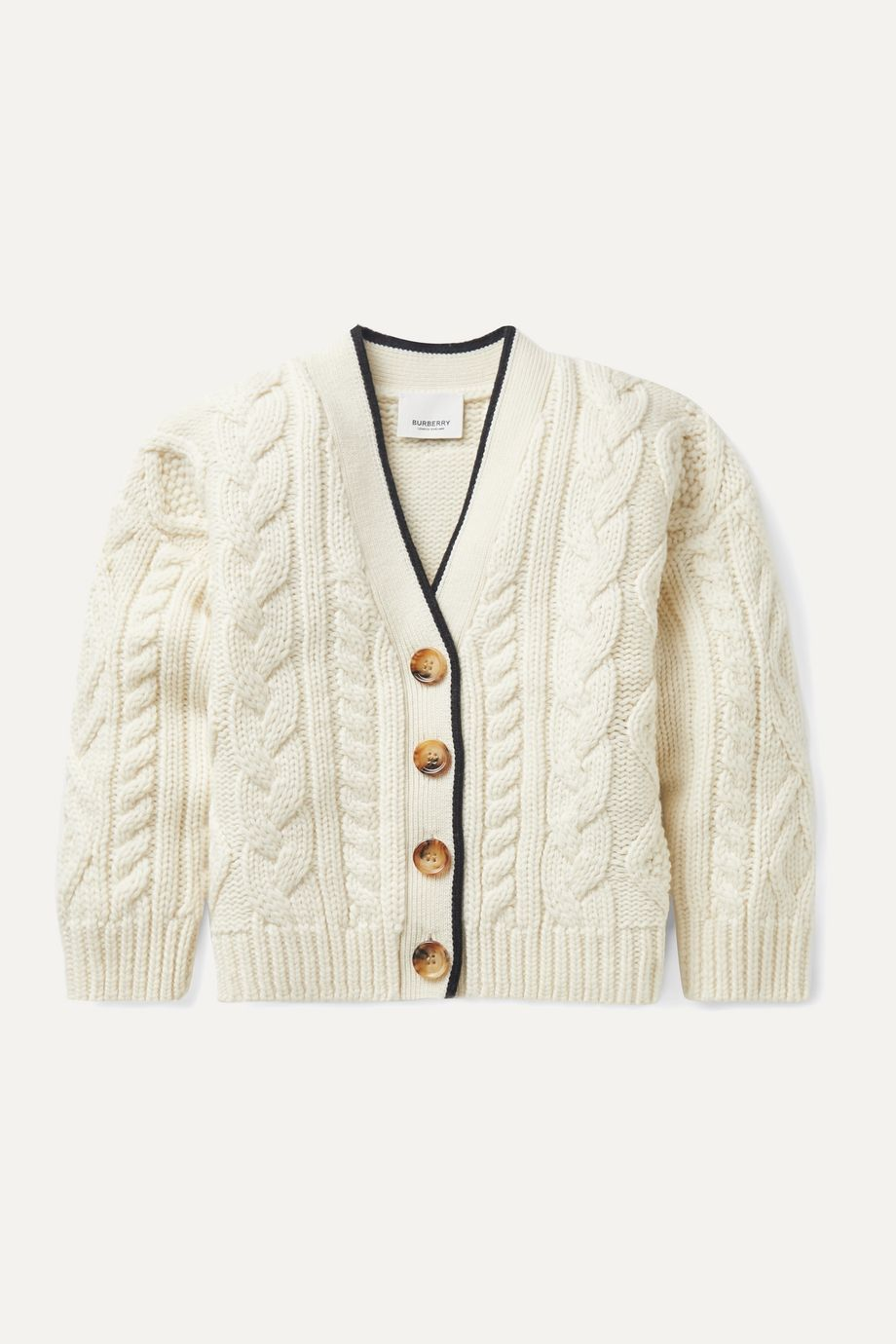 Burberry Kids Ages 3 - 12 jacquard-trimmed cable-knit wool and cashmere-blend cardigan