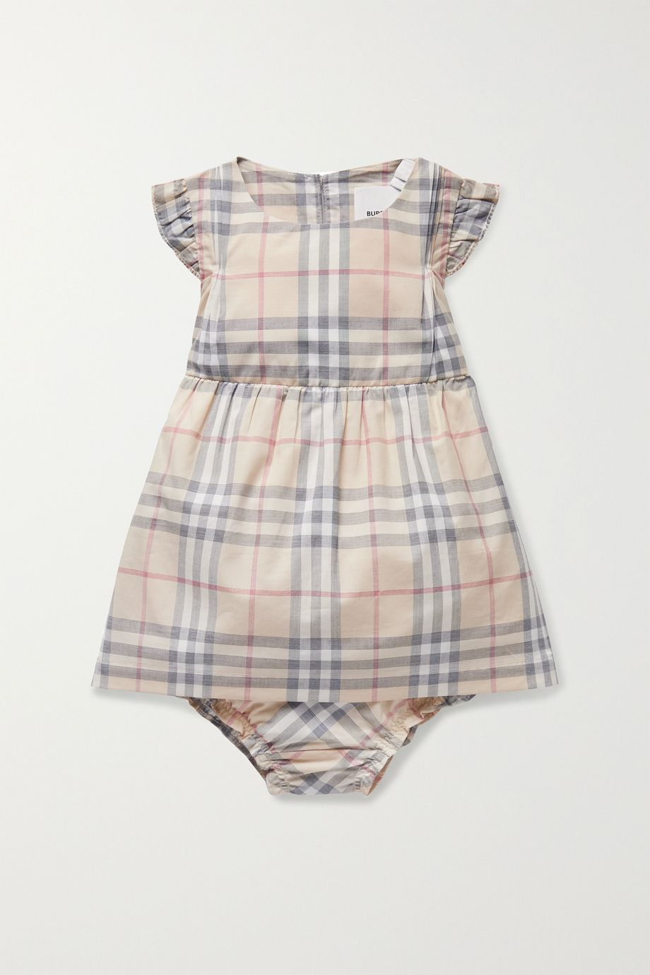 Burberry Kids Newborn ruffled checked cotton-poplin dress and bloomers set