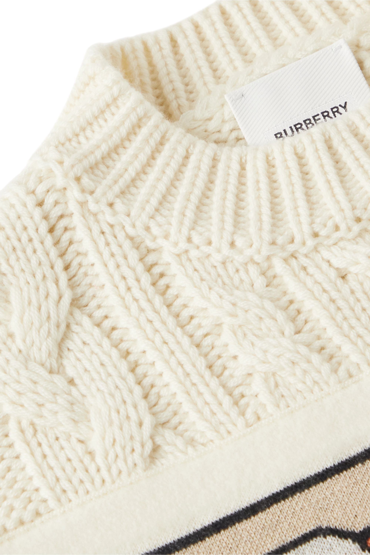 Burberry Kids 3–12 Jahre – Pullover aus einer Woll-Kaschmirmischung in Zopfstrick mit Jacquard-Besatz
