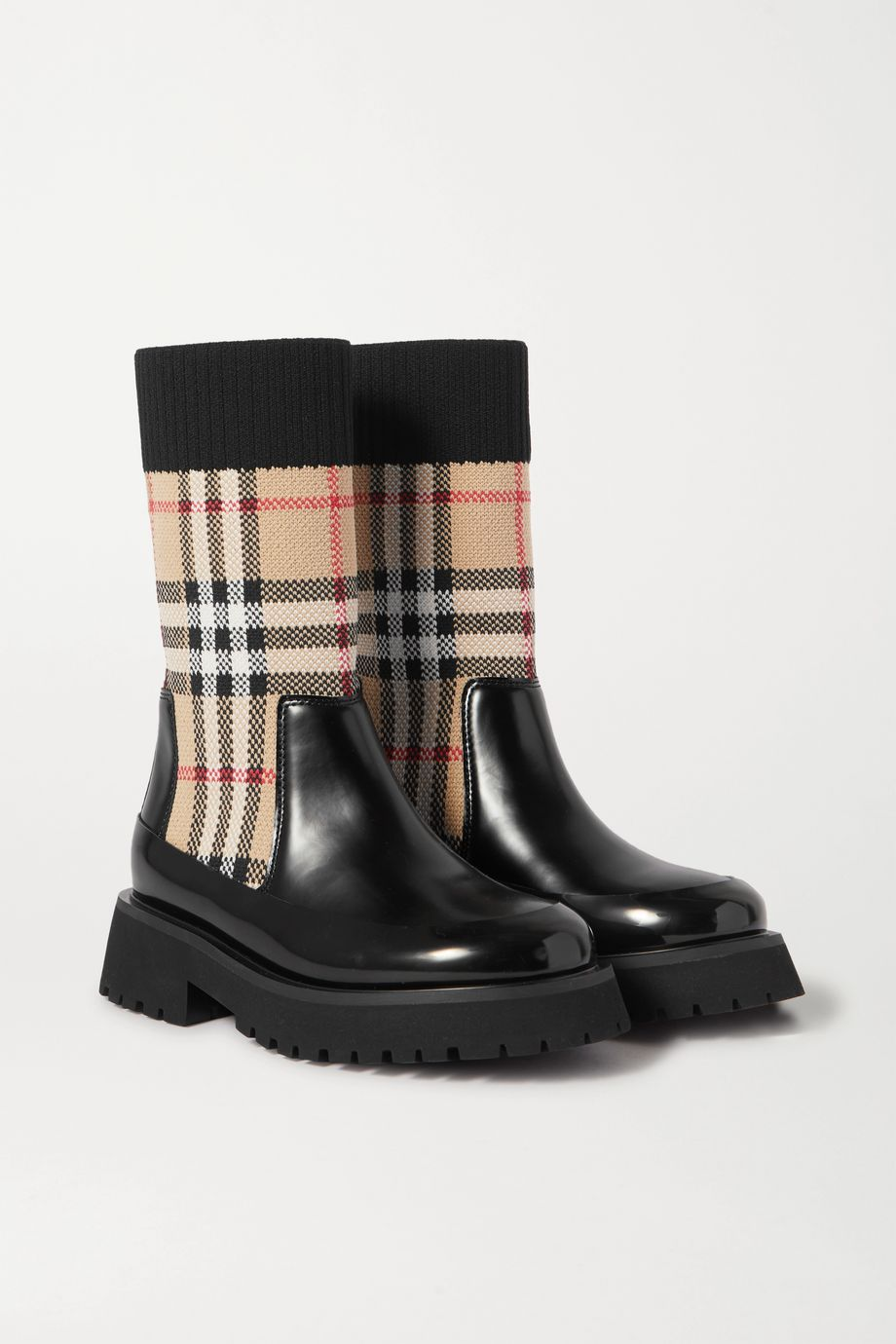 Burberry Kids Ages 4 - 11 checked stretch-knit and glossed-leather boots