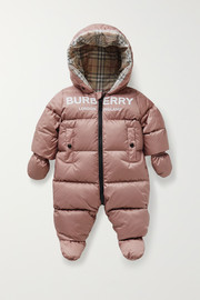 Burberry Kids Hooded printed quilted shell down onesie