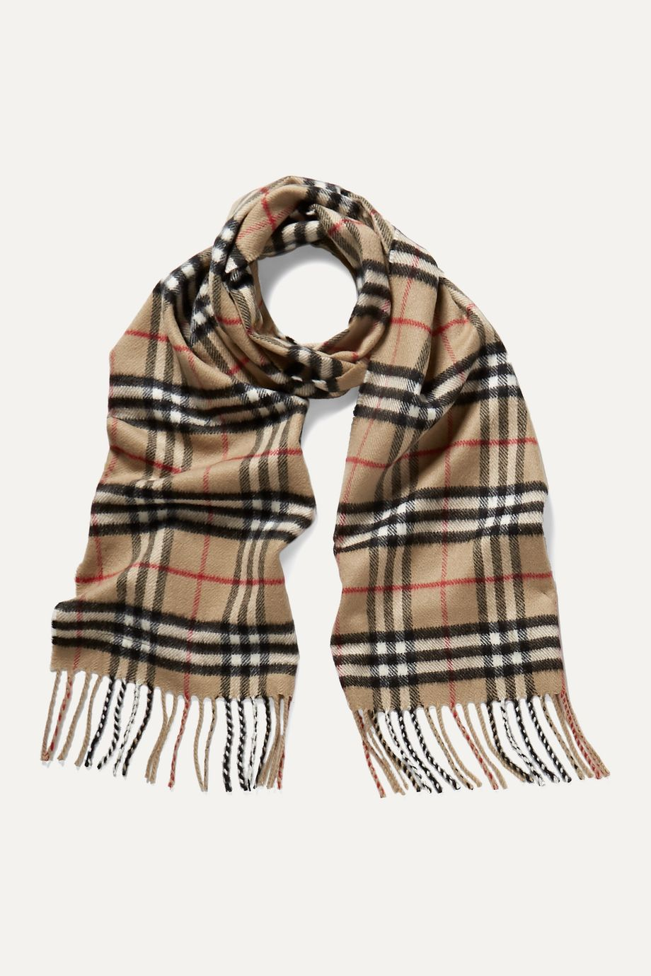 Burberry Kids Fringed checked cashmere scarf