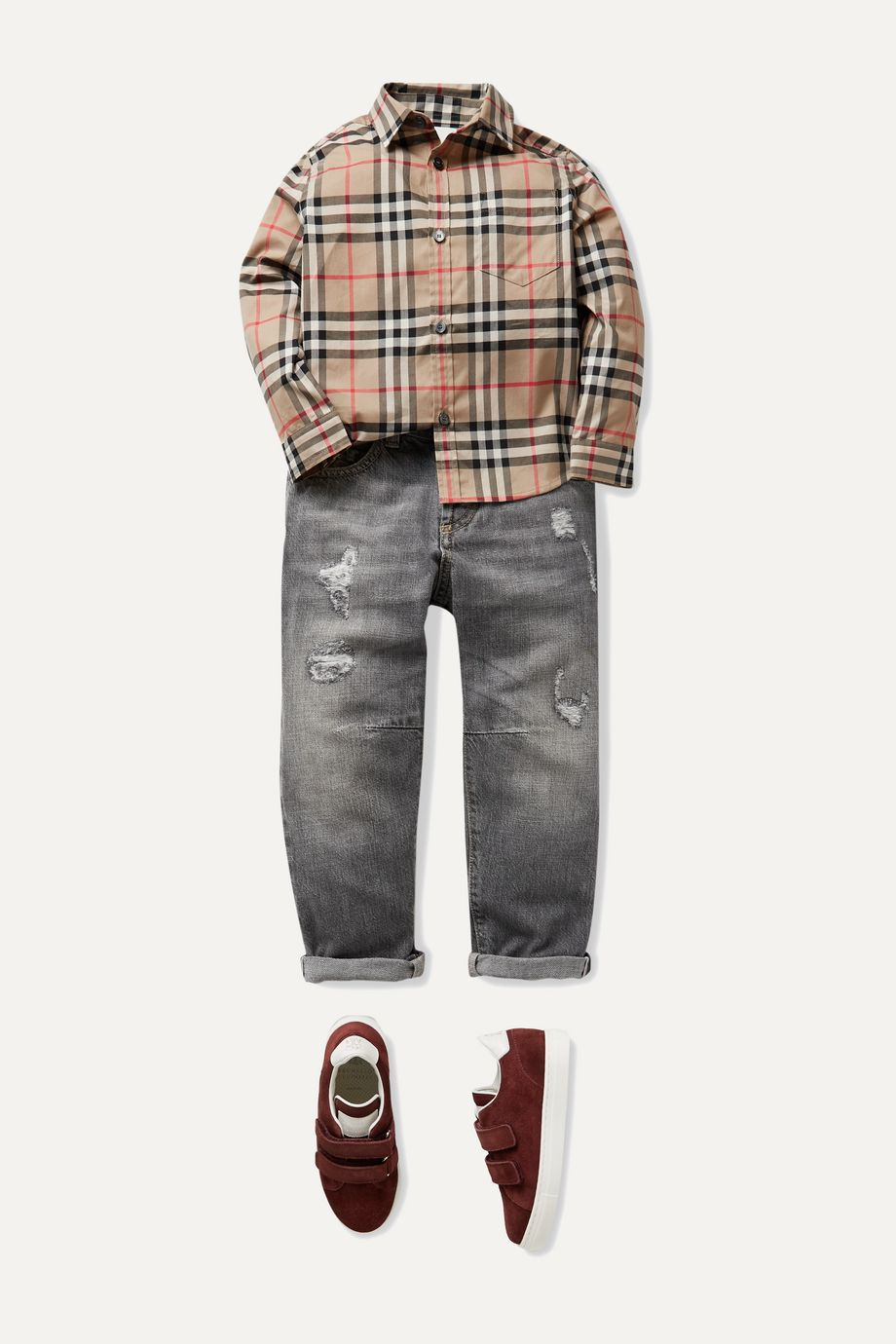 Burberry Kids Checked cotton-poplin shirt