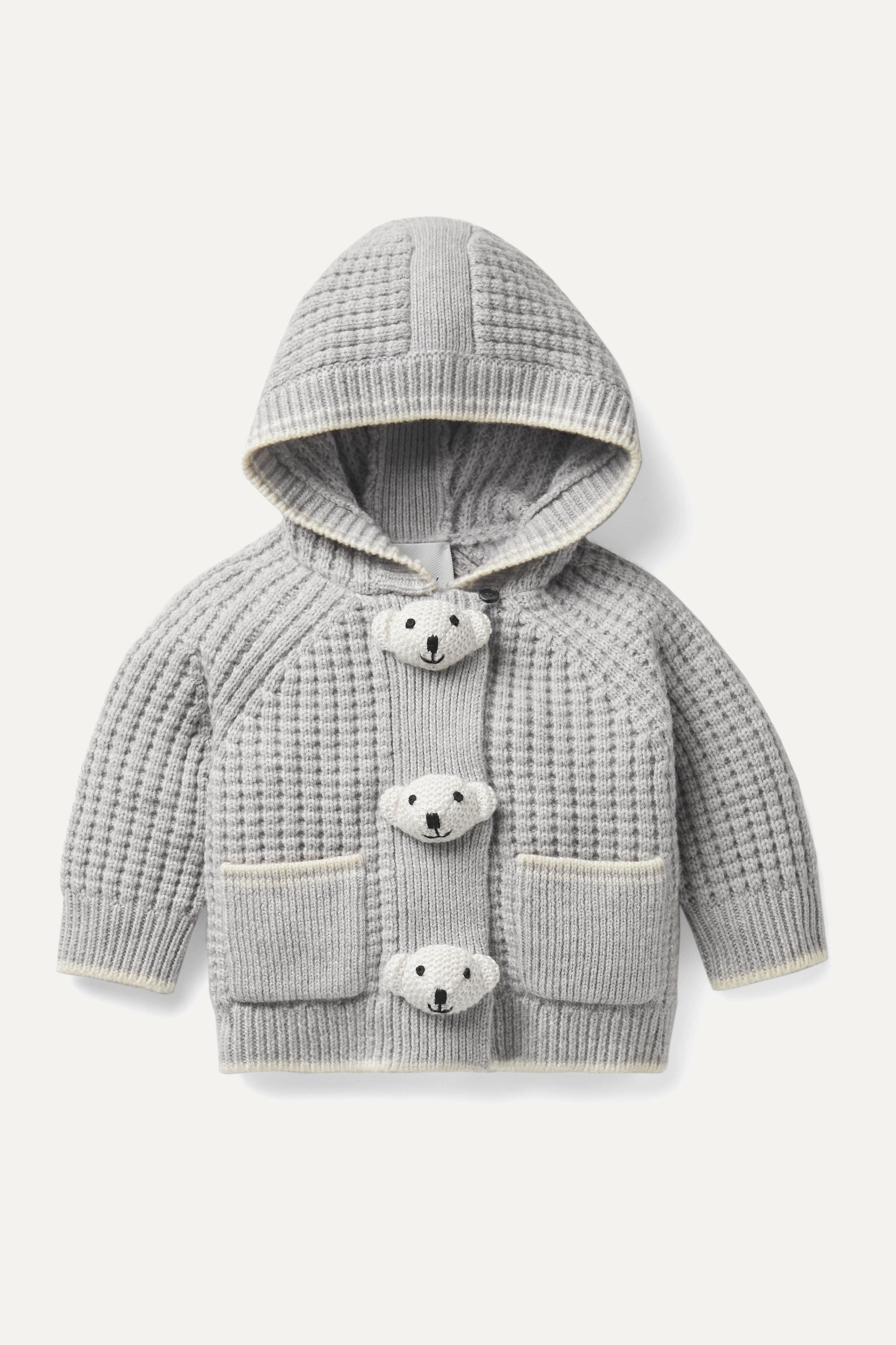 Months 1 18 embellished waffle knit wool and cashmere blend hooded jacket