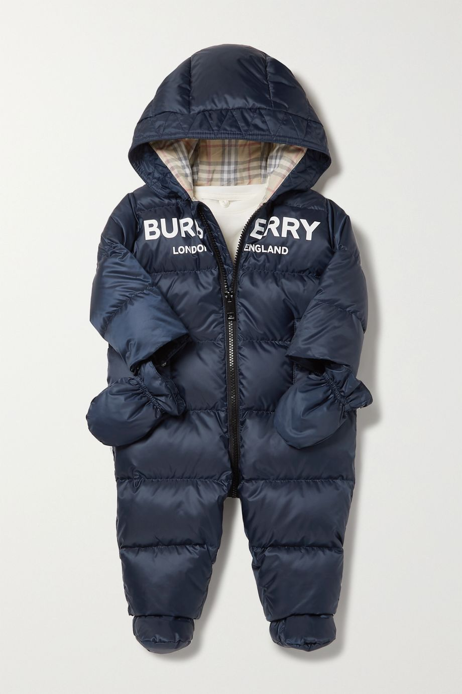 Burberry Kids Months 1 - 18 hooded printed quilted shell down onesie