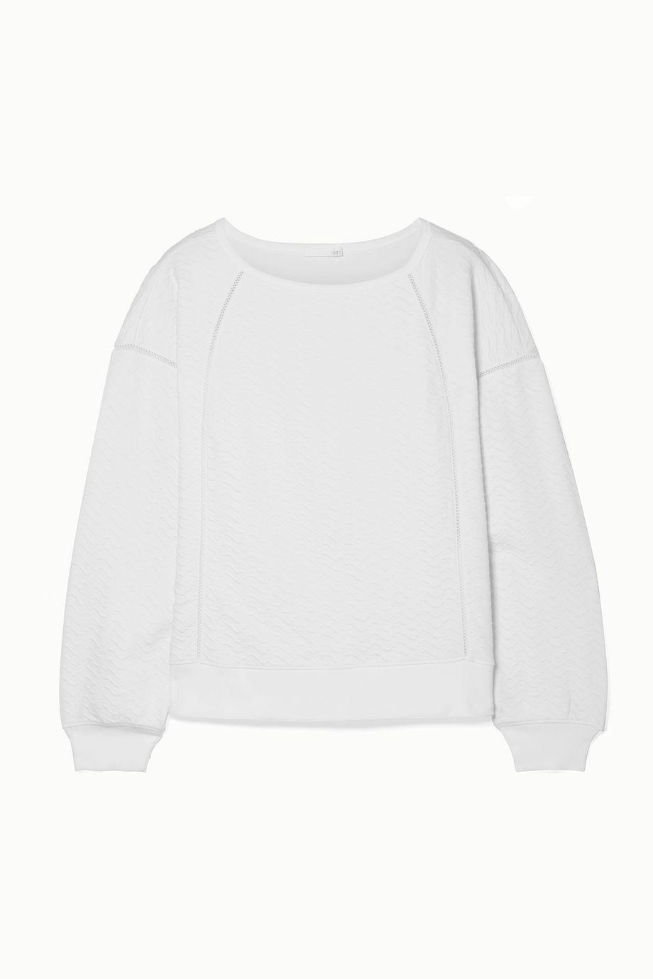 Skin Coraline lattice-trimmed textured stretch-cotton sweatshirt