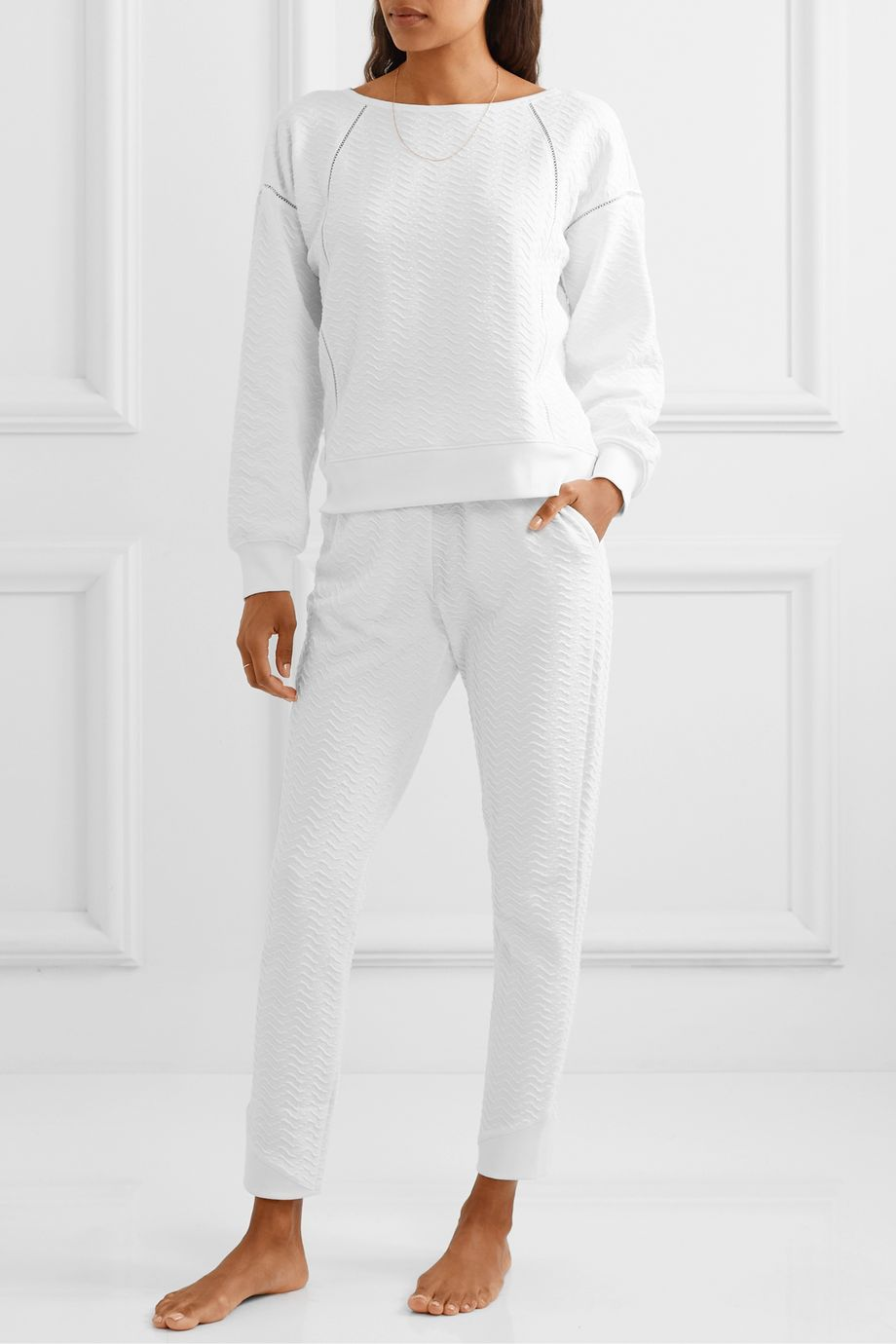 Skin Celina textured stretch-cotton track pants