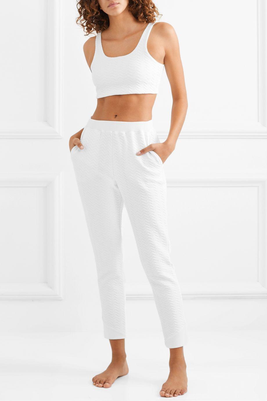 Skin Carmen cropped textured stretch-cotton top