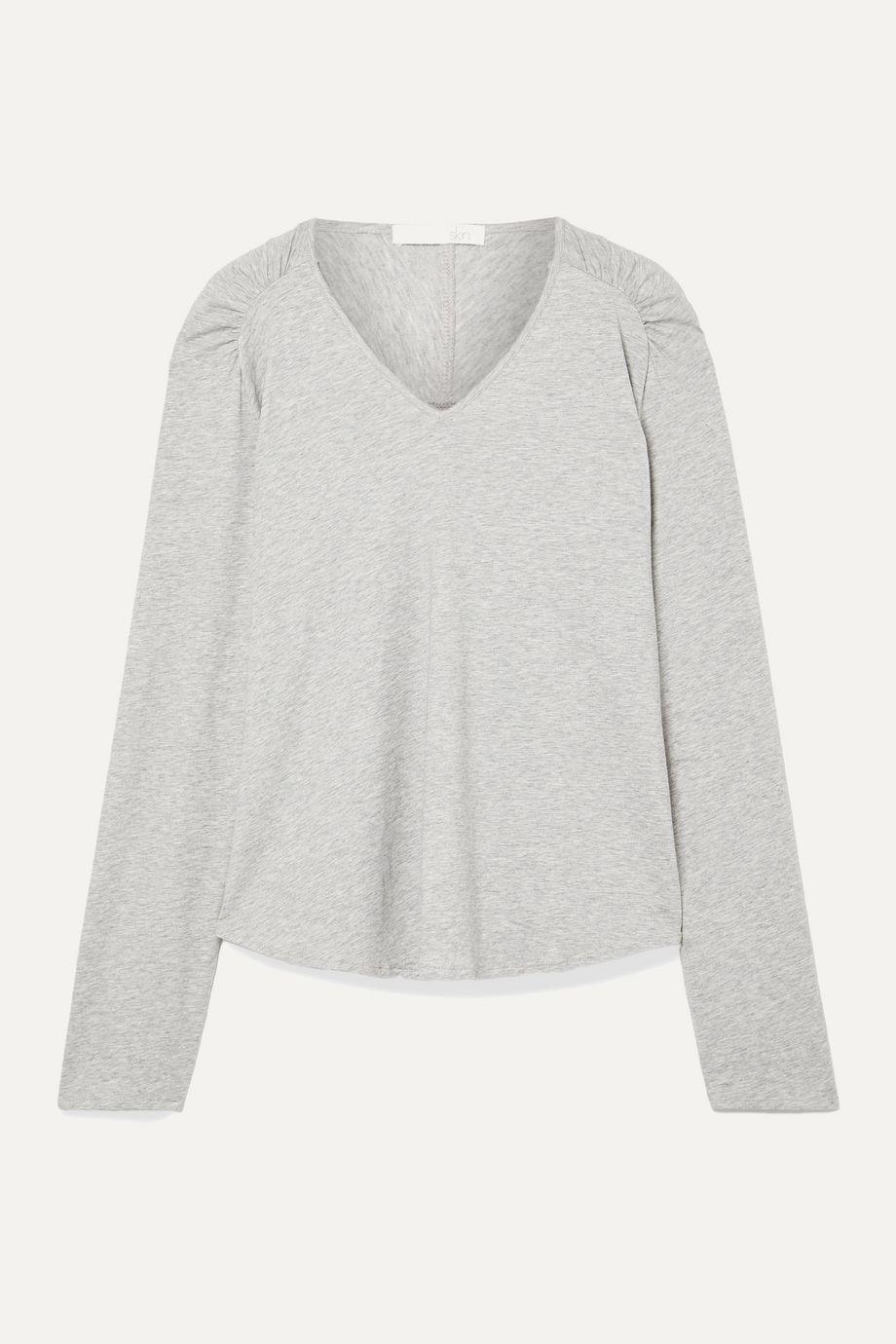 Skin Elena mélange Pima cotton-jersey pajama top