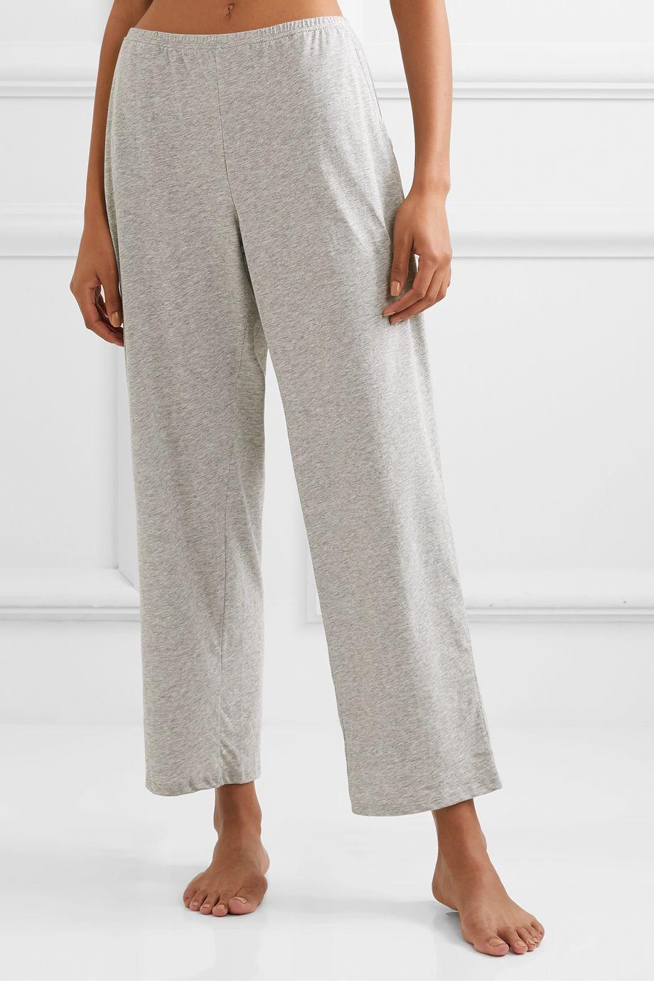 Skin Elena mélange Pima cotton-jersey pajama pants