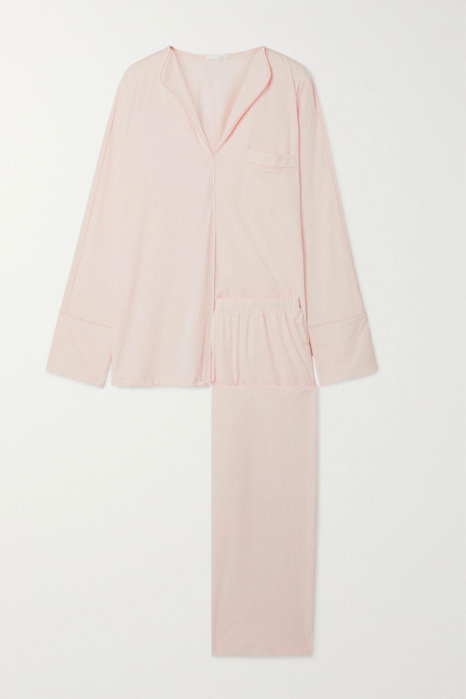Skin Ondrea satin-trimmed Pima cotton-jersey pajama set