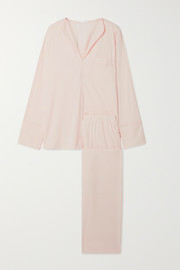 Skin Ondrea satin-trimmed Pima cotton-jersey pajama set