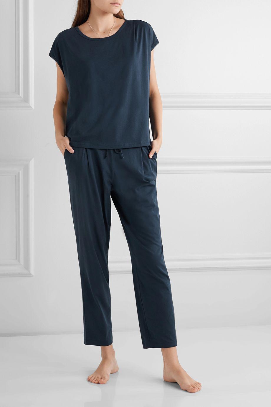Skin Sonia Pyjama-Oberteil aus Pima-Baumwoll-Jersey