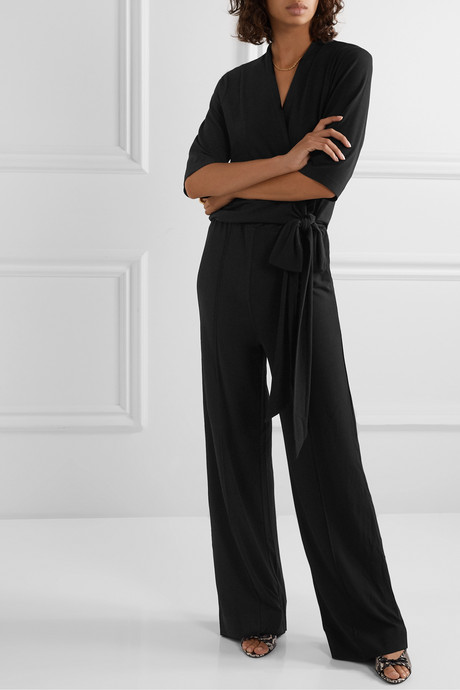 Zhou wrap-effect stretch-crepe jumpsuit