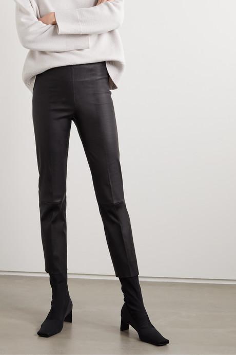 Florentina stretch-leather slim-leg pants
