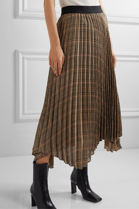 Balsash wrap-effect pleated checked woven midi skirt