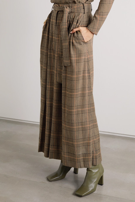 Dinard cropped Prince of Wales checked crepe wide-leg pants
