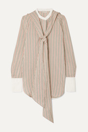By Malene Birger Bonnes tie-neck striped cotton-blend jacquard blouse
