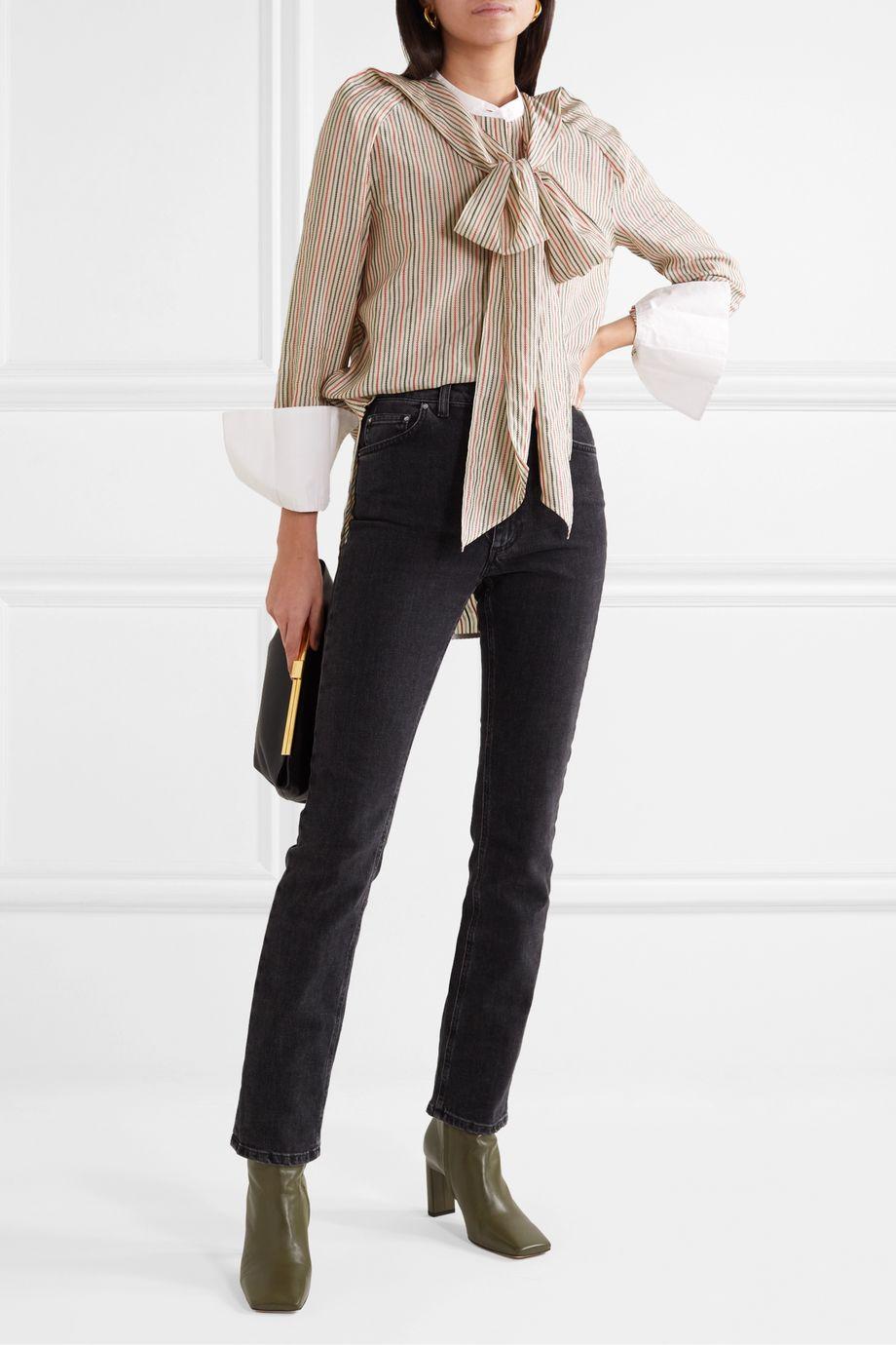 By Malene Birger Bonnes tie-neck striped cotton-blend jacquard blouse