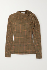 By Malene Birger Diora gathered Prince of Wales checked crepe blouse