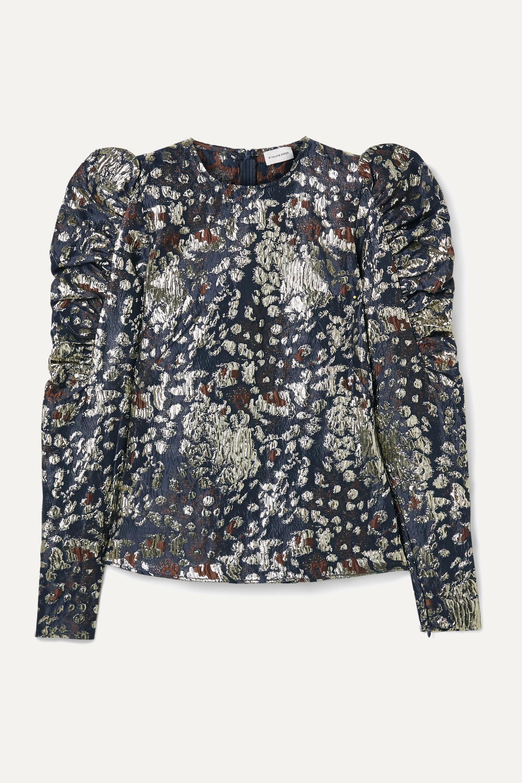By Malene Birger Claude ruched metallic brocade top