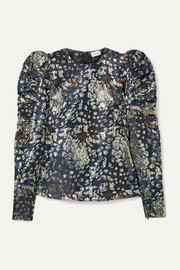 By Malene Birger Claude ruched metallic brocade top