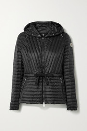 Moncler Orchidee grosgrain-trimmed hooded quilted shell down jacket