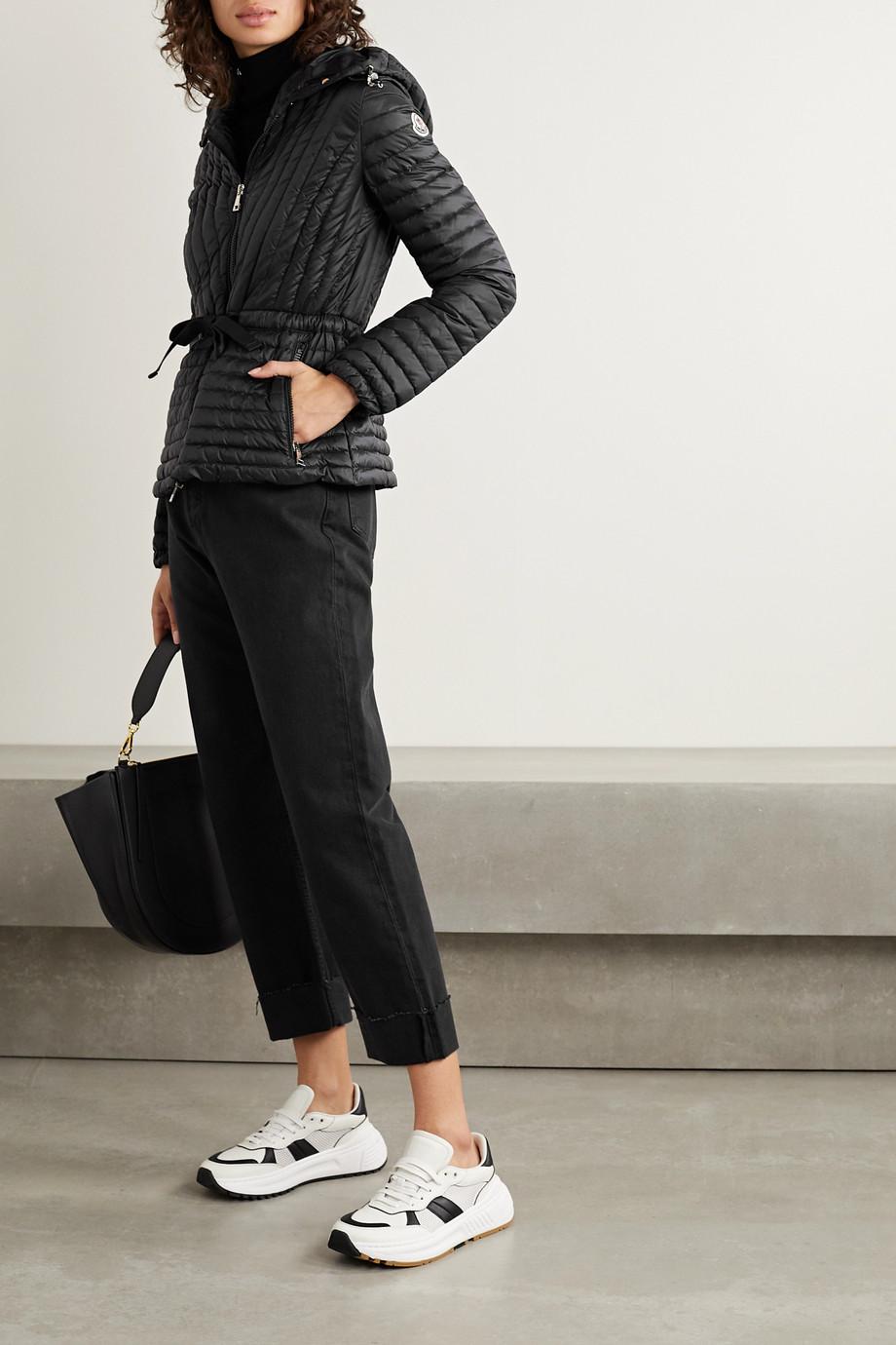 Jou Jou Womens Faux-Leather Trim Drawstring Jacket