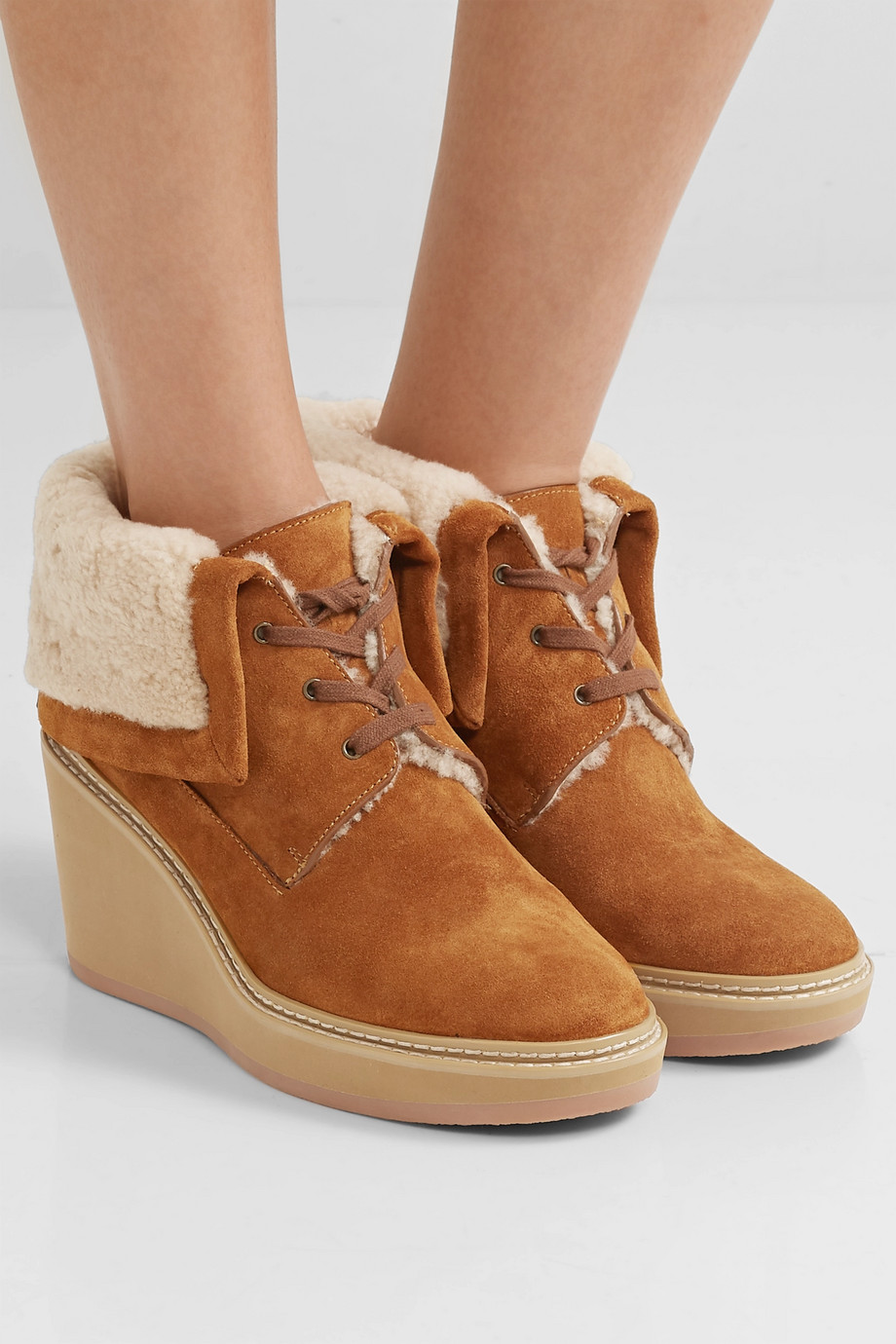 See By Chloé Shearling-trimmed suede wedge ankle boots