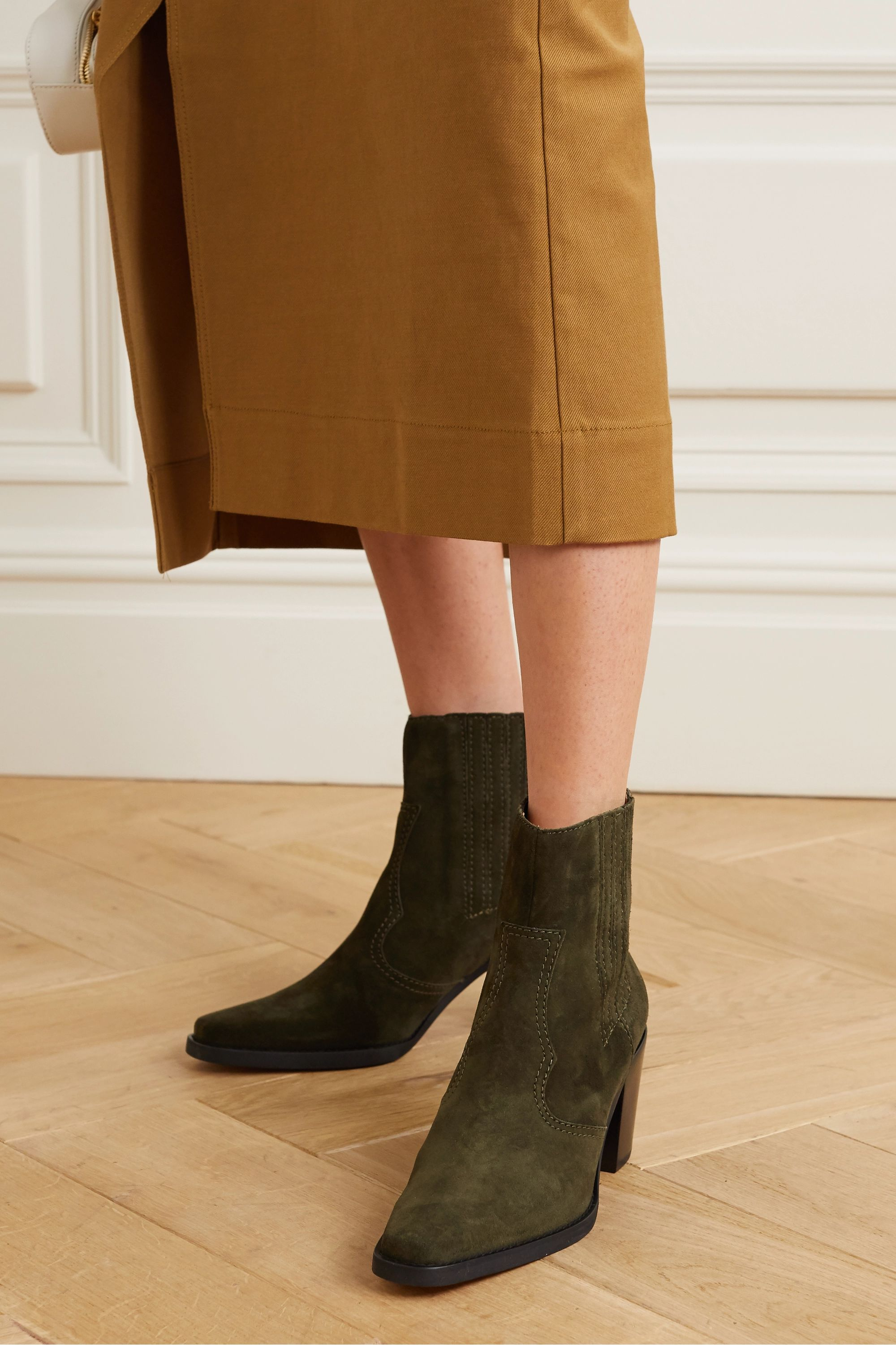 Army green Callie suede ankle boots