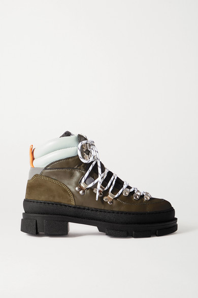 Ganni Sporty Hiking Leather And Suede Ankle Boots In Army Green