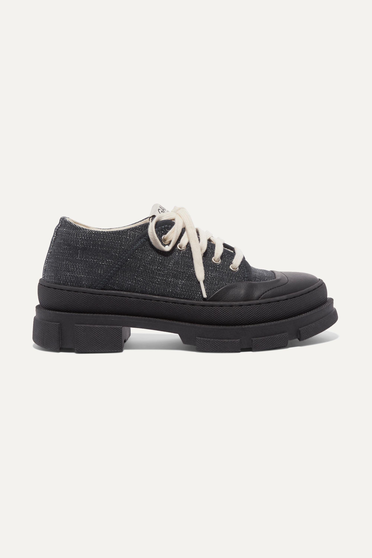 GANNI Hybrid Sneakers aus Denim mit Plateau und Lederbesatz