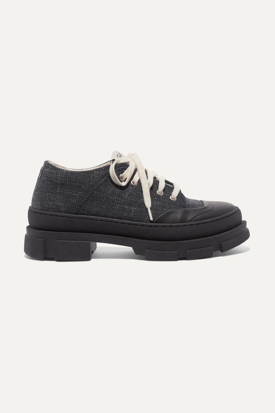 GANNI Hybrid leather-trimmed denim platform sneakers