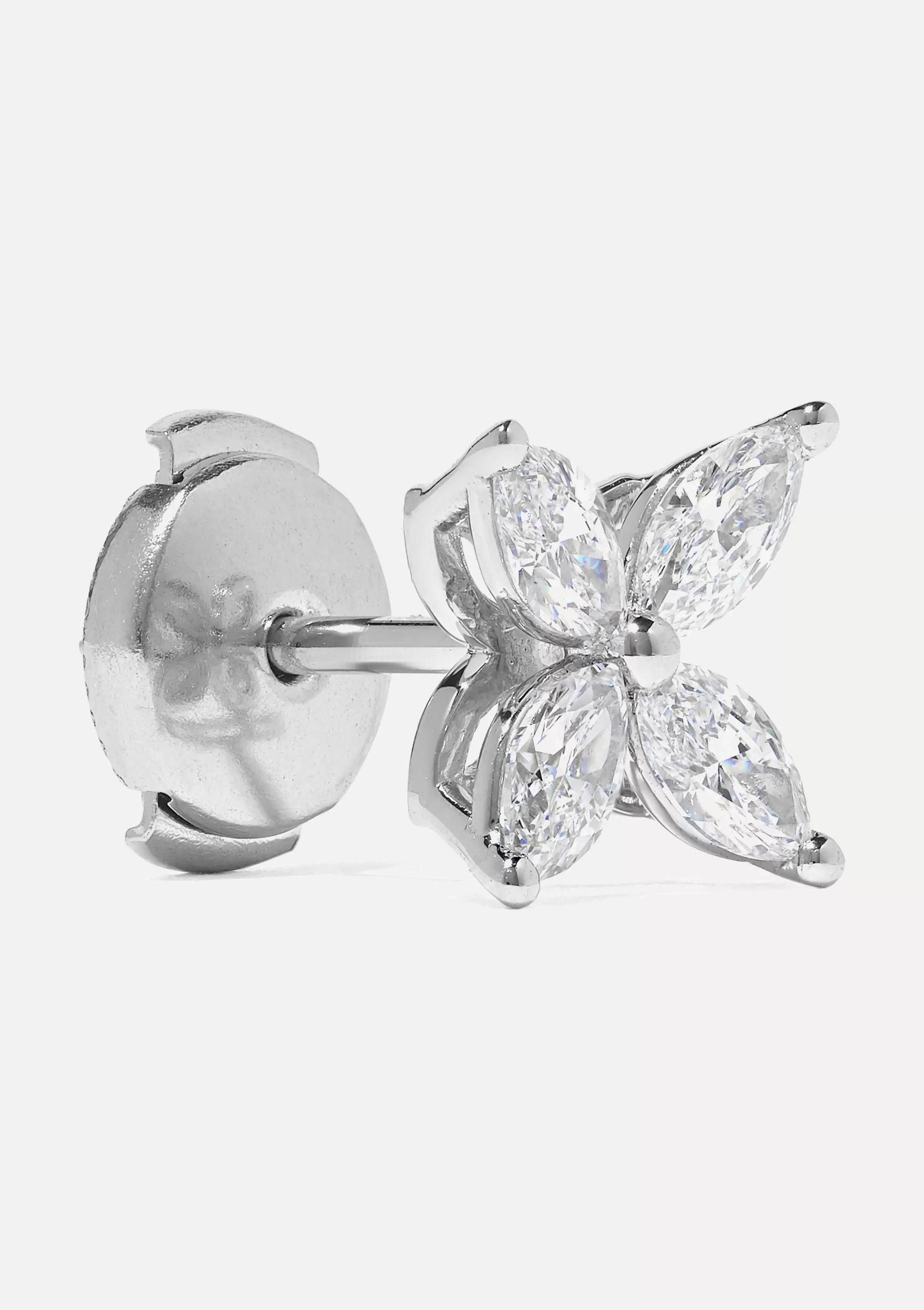 Platinum Victoria Platinum Diamond Earrings Tiffany Co Net A Porter