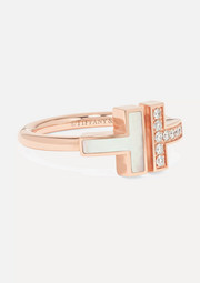Tiffany & Co. T Square 18-karat rose gold, diamond and mother-of-pearl ring