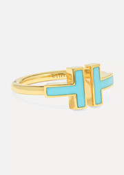 T Square 18-karat gold turquoise ring