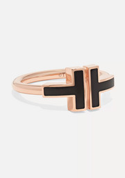 Tiffany & Co. T Square 18-karat rose gold onyx ring