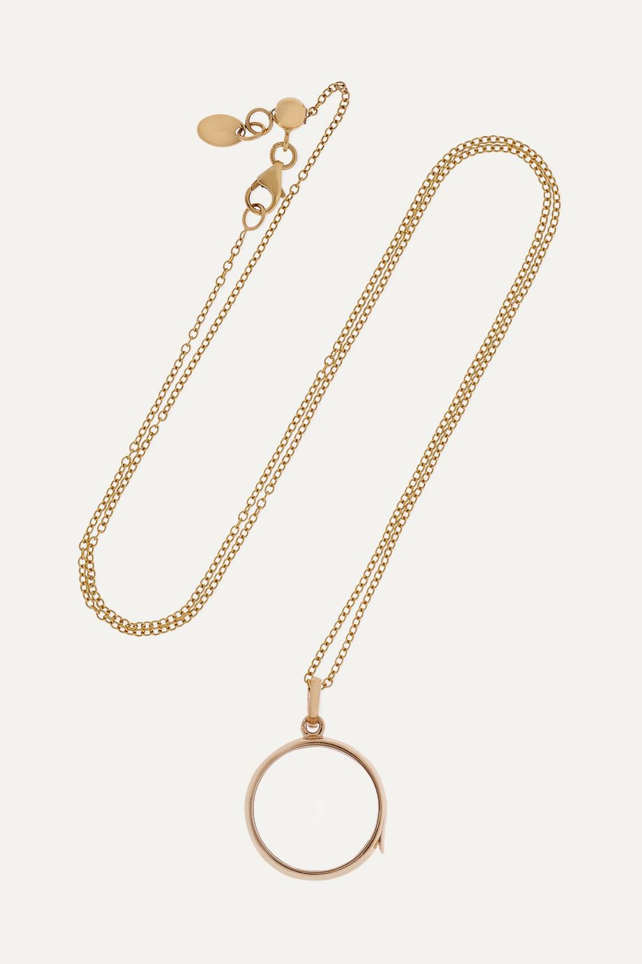 Loquet 14-karat gold and sapphire crystal locket necklace