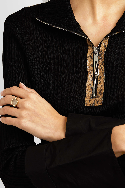 Loquet 14-karat gold and sapphire crystal locket ring