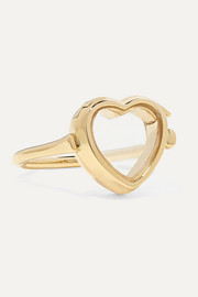 14-karat gold and glass ring