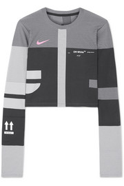Nike + Off-White cropped paneled printed Dri-Fit top